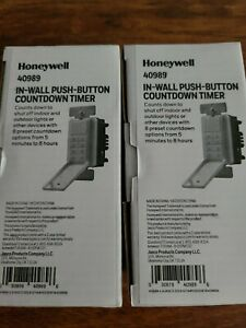 2 Pack Honeywell 40989 In wall Push Button Countdown Timer 5 Min To 8hrs