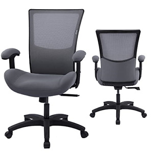 Mesh Fabric Office Computer Desk Chair With Height Adjustable Arms Grey