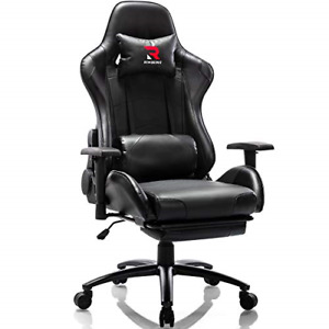 Rimiking Massage Gaming Chair With Footrest Computer Chair Adjustable Swivel And