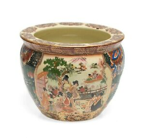 Vintage Chinese Pottery Fishbowl Painted In The Satsuma Taste Circa 1950 S