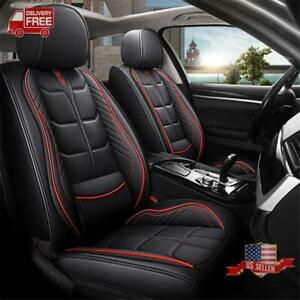 Black Red Pu Leather Car 5 Seat Front Rear Row Seat Covers Cushion Protector