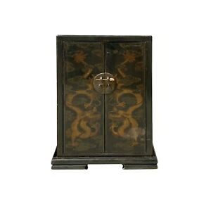 Chinese Rustic Brown Lacquer Golden Dragon Side Table Cabinet Cs6146