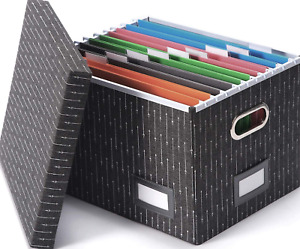 Decorative File Storage Organizer Box Portable Home Office Filling System By