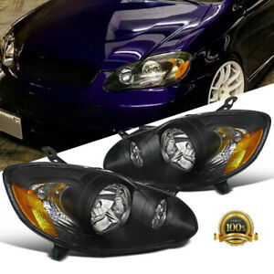 Fit 03 08 Toyota Corolla Replacement Black Clear Head Lights Driving Lamps Pair