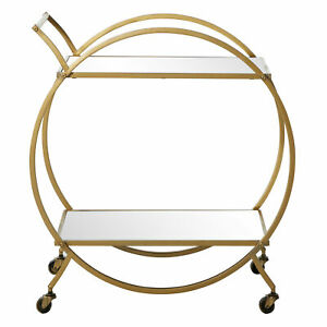 Zimlay Round 2 tier Cart With Mirrored Tops 65605