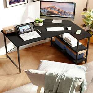 Computer Desk L shaped Home Office Pc Laptop Gaming Table Workstation W Shelves