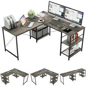 Large Computer Office Desk 95 In L shaped Table Pc Home Workstation W Shelves