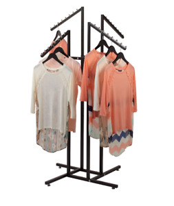 New 4 Way Clothing Rack With Slanted Arms Black
