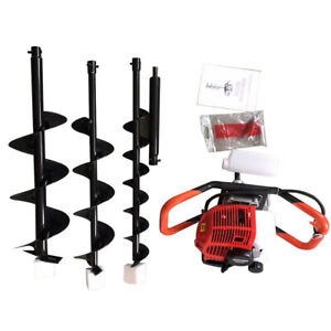 2 3hp Gas Powered Post Hole Digger Earth Auger Drill Bit 52cc 2 stroke 4 6 8