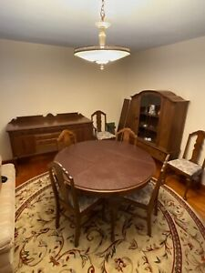 Antique Dining Room Set 6 Chairs Round Table Buffet China Cabinet