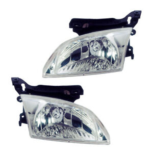 Headlights Front Lamps Pair Set For 00 02 Chevy Cavalier Left Right