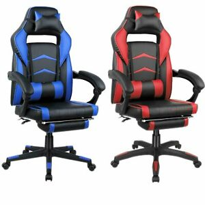 Racing Gaming Chair Ergonomic Leather Swivel Office Adjustable Computer Recliner