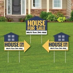 3 Pack House For Sale Sign Yard Sign With Stakes Double Sided Outdoor Lawn Sign
