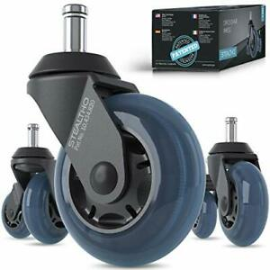 Stealtho Patented Replacement Office Chair Caster Wheels Set Of 5 Protect Your