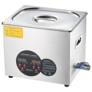 740w 10l Square Cleaner Silver Ss Ultrasonic W Temperature Display drain Hose