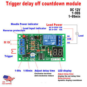 12v Timing Timer Module Led Display Countdown Delay Off Switch Module10a 250v Ac