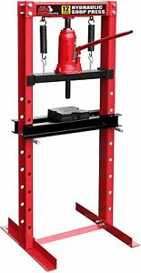 Torin 12 Ton Steel H Frame Hydraulic Shop Floor Press With Stamping Plates