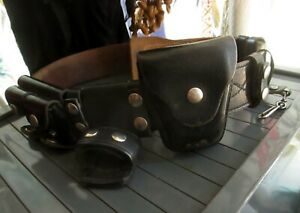 Vintage Jay pee Leather Police Duty Belt With Keepers Baton Handcuffs Pouches