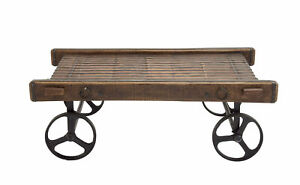 Beautiful And Unique Style Wood Metal Trolley Table Home Decor 27815