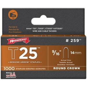 Arrow Fastener 259 Round Crown Staples For T25 9 16 1 000 Pack