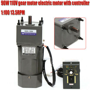 90w Gear Motor Ac 110v Electric Motor Variable Reducer Speed Controller 1 100