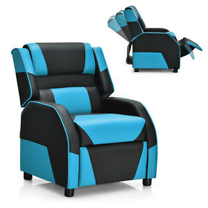 Giantex Kids Youth Gaming Sofa Recliner W headrest Footrest Pu Leather Blue