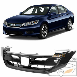For 2013 15 Honda Accord 9th Gen Jdm Style Black Front Grille Grill W Emblem
