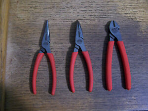 Mac Tools 3pc Pliers Set Diagonal Cutter Needle Nose Curved Needle Nose Nice