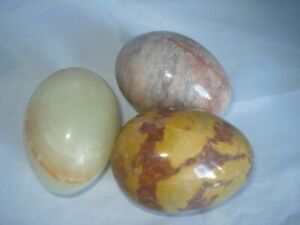 Collector Eggs Polished Stone Good Markings X3 Large Collectable All Different B