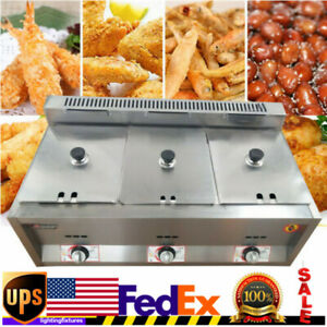 18l 6lx3 Commercial Gas Fryer Countertop Gas Deep Fryer Stainless Steel 3 pan