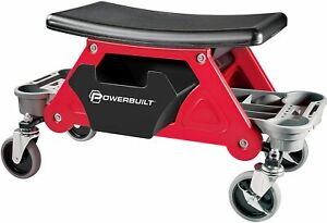 Powerbuilt Roller Mechanics Seat Brake Stool With 4in Rubber Swivel Casters Roll