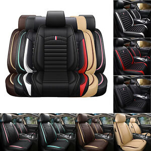Deluxe Leather Car Seat Covers 5 Seats Universal Cushion Full Set Suv Sedans