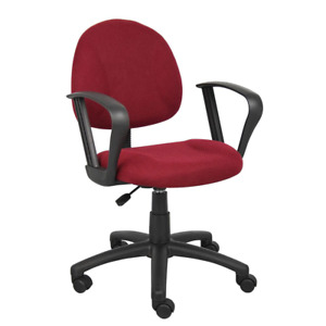 Task Chair 25 In Width Big And Tall Burgundy Fabric With Swivel Seat