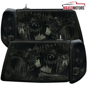 Smoke For 2001 2011 Ford Ranger Headlights W Corner Signal Parking Lamps Pair