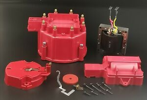 Hei Distributor Cap Coil Cover Rotor Kit And 65 000 Volt Coil Gm Chevy Red