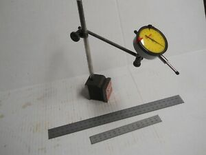 Starrett 657 Magnetic Base 25 197 Metric Indicator Post Assembly 2 rules Used