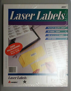 Avery 6231 Laser Labels 1x2 5 8 White 3000ct 100 Sheets Same Size As Avery 5160