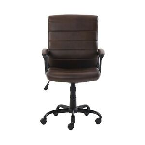 Hot Mainstays Bonded Leather Mid back Manager s Office Chair Brown