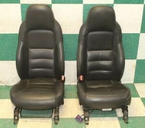 08 C6 Black Pair Leather Power Manual Buckets Oem Non Memory Hot Rod Seats