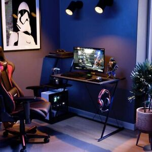 51 Computer Desk Pc Gaming Corner Laptop Writing Table Home Office 3 Tier Shelf