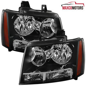 Black For 2007 2014 Chevy Avalanche Suburban Headlights Signal Lamps Left Right