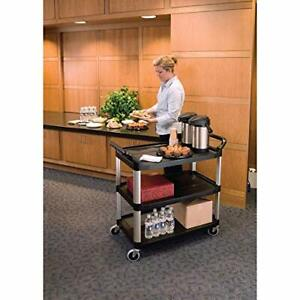 Commercial Products Heavy Duty 3 shelf Rolling Service utility push Cart 300