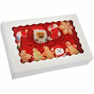 20 pack Bakery Boxes With Window 12 X 8 X 2 5 Large White Cookie Boxes Aut