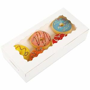 Moretoes 30pcs White Bakery Boxes 12x5 5x2 5 Inches Cookie Boxes With Window