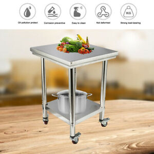 Stainless Steel Work Table 24 x24 Commercial Kitchen Food Prep Table W Wheels