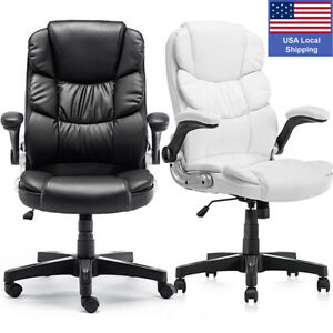 Office Chair Ergonomic Reclining High Back Soft Leather Executive Computer Desk