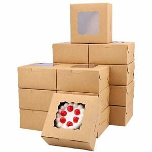 Kucoele 30pcs Brown Bakery Boxes With Window 6x6x3 Inch Cookie Boxes For Smal