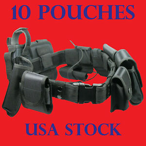 Tactical Police Security Guard Duty Belt Oxford Utility Kit Pouch System Black