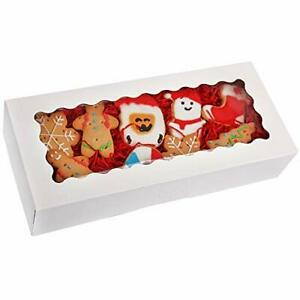 Tcoivs 30 pack Cookie Boxes 12 5 X 5 5 X 2 5 Bakery Boxes With Window Auto