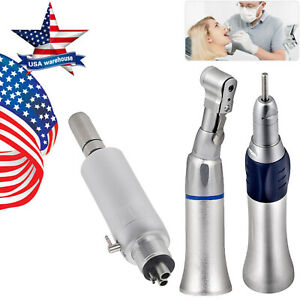 Dental Slow Low Speed Handpiece Latch Contra Angle Micro Air Motor 4 Hole E type